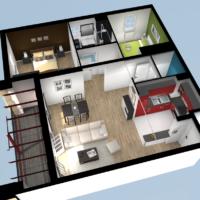 programme neuf à sare par INDO IMMO promoteur immobilier Côte Basque vue 3d exemple appartement type T3