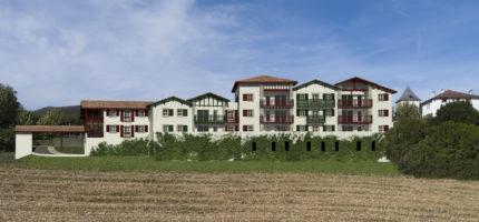 rendu façade sud de la résidence ESKOLA , le nouveau programme immobilier neuf de indo immo, promoteur constructeur sur la côte basque